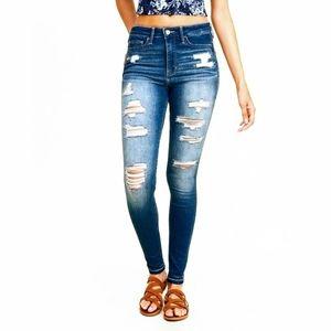 Hollister Hi-Rise Super Skinny Fray Hem Jeans